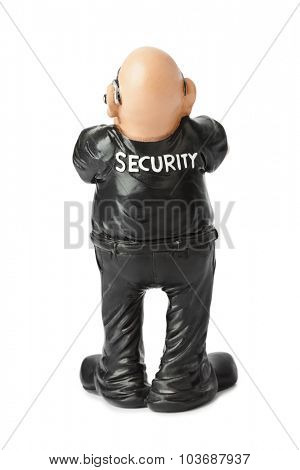 Toy security guard isolated on white background