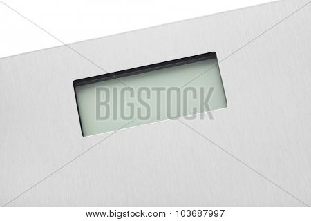 Screen on weight scale isolated on white background
