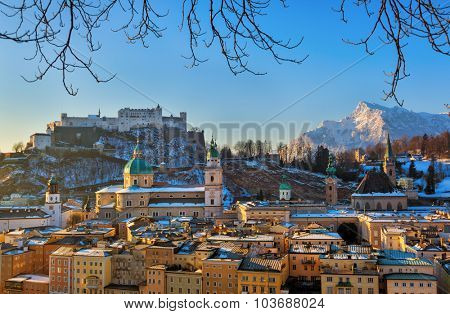 City and castle Hohensalzburg in morning - Salzburg Austria