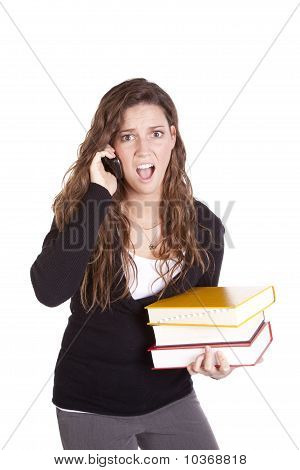Business Woman Books Phone Shocked