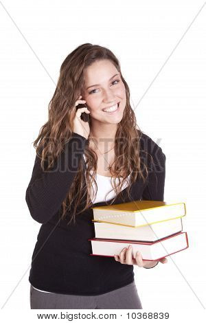 Business Woman Phone Happy Books