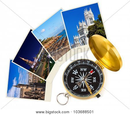 Spain travel images and compass (my photos) - nature and architecture background