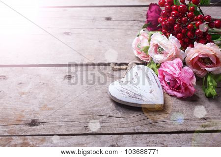 Decorative Heart And Flowers
