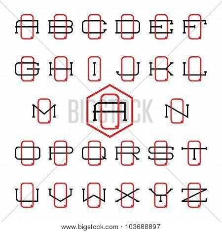 College sport team logo set. Two thin letters monogram template. Personal Q identity design. Wedding