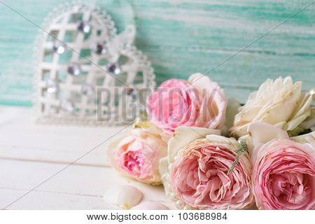 Sweet Pink Roses Flowers And Heart