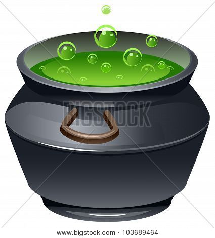 Green magic potion in cauldron. Boiling pot. Halloween accessory object