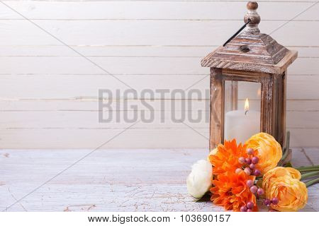 Background With  Yellow  Flowers And Candle