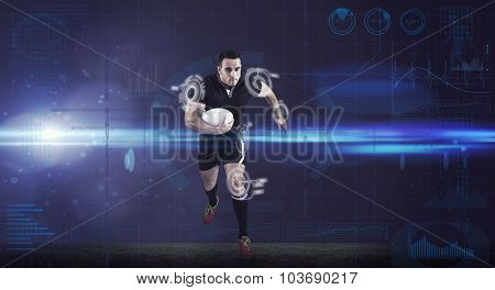 Rugby player running with the ball against fitness interface