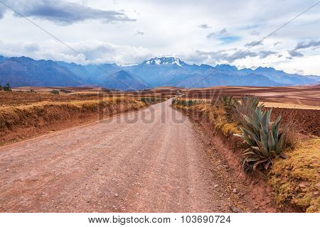 Andes Mountains And Dirt Road