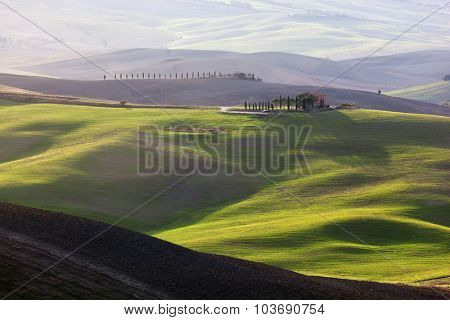 Tuscany landscape at sunrise. Typical for the region tuscan farm house, green hills, vineyard. Italy