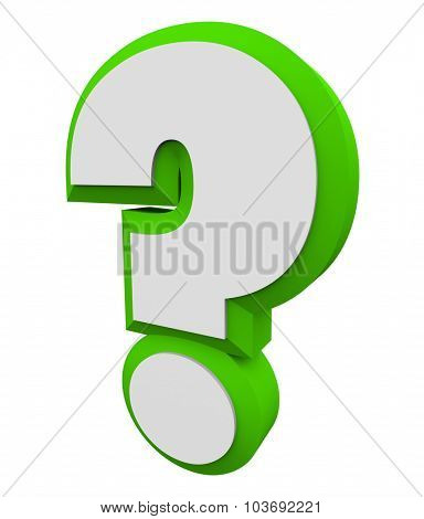 3d question mark green character for asking an iquiry, getting and finding answers or information