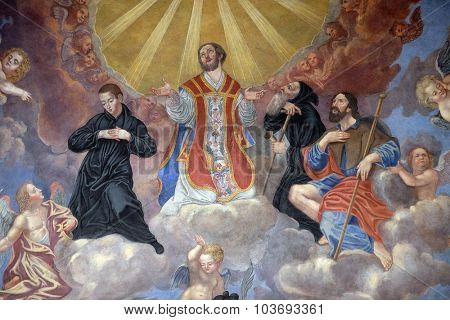 LJUBLJANA, SLOVENIA - JUNE 30: Saints, fresco in the Franciscan Church of the Annunciation on Preseren Square in Ljubljana, Slovenia on June 30, 2015
