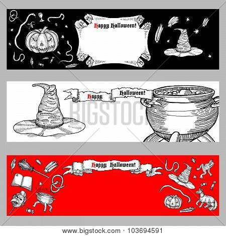Set of Halloween banners.