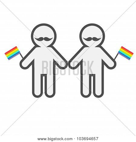 Gay Marriage Pride Symbol Two Contour Man With Mustaches And Rainbow Flags Lgbt Icon  Flat Design