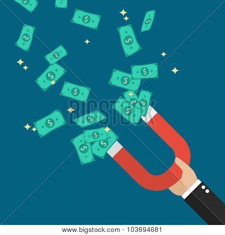 Businessman Holding Magnet Attracting Money