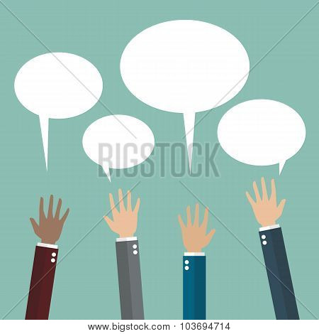 Hands Raised With Speech Bubble