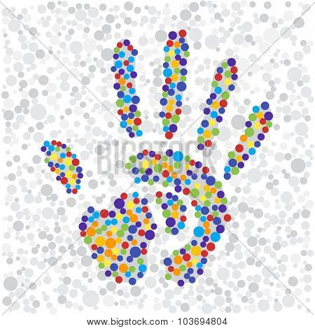 color points handprint. rainbow colors dots shape of a hand and fingers