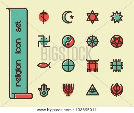 Fat Line Icon set for web and mobile. Modern minimalistic flat design elements of world religious symbols