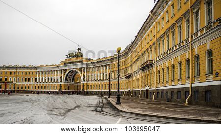 Palace Square In The City St. Petersburg, Russia.