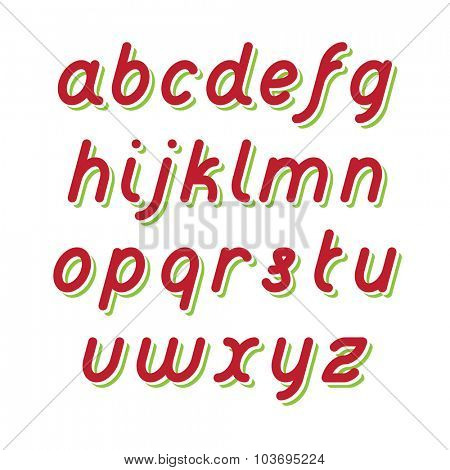 Rounded Fat Line Red Font with Green shadow