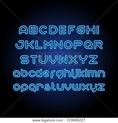 Round Line Neon Font. Uppercase and small case set