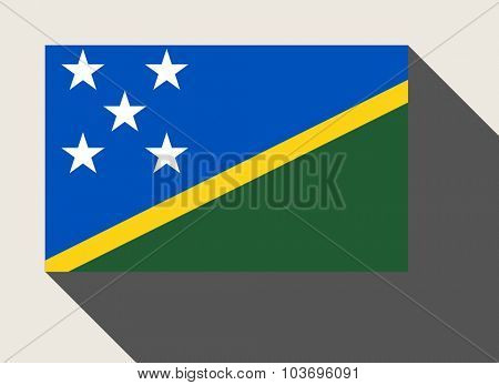 Solomon Islands flag in flat web design style.