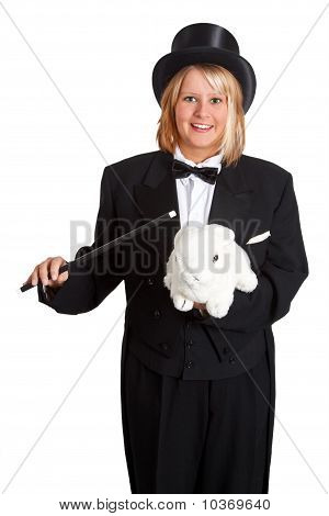 Female Magician With Rabbit