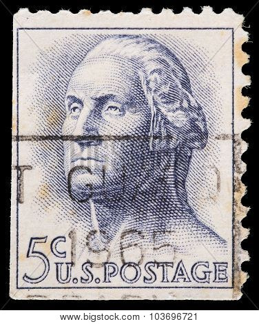 United States Postage Stamp, Portrait Of George Washington, The First President Of The United States