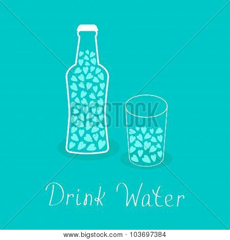 Beer Bottle And Glass With Hearts Inside. Drink Water. Healthy Lifestyle Concept. Contour Lined Icon