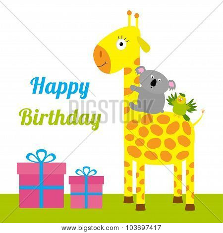 Happy Birthday Card With Cute Giraffe, Koala And Parrot. Giftbox Set Baby Background Flat Design
