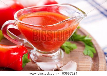 Tomato Sauce In A Glass Gravy Boat