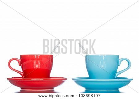 Enjoy Multiple Colorful Coffee Cup Mug On Reflection Table