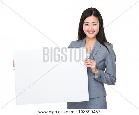 Asian young businesswoman show with a white board
