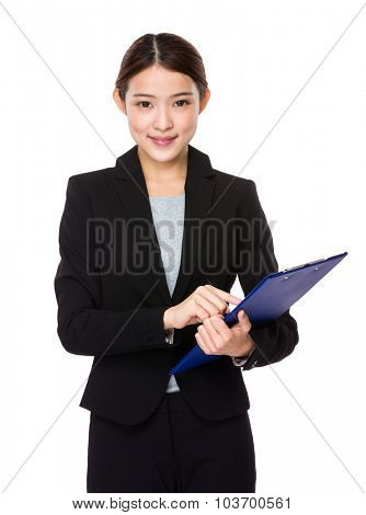 Businesswoman hold with file board