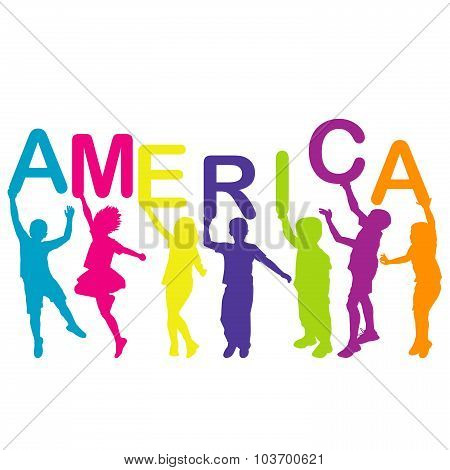 Children Holding Letters Building The Word America