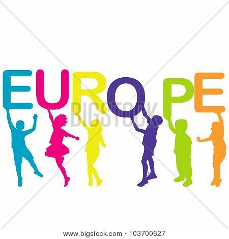 Children Holding Letters Building The Word Europe