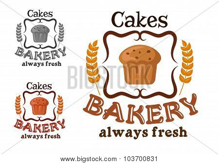 Bakery shop sign with cupcake and wheat