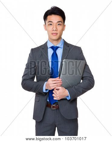 Asian businessman hold with laptop computer