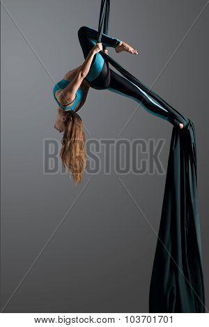Aerial silk female performer