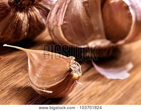 Clove of  garlic  on  wooden board.