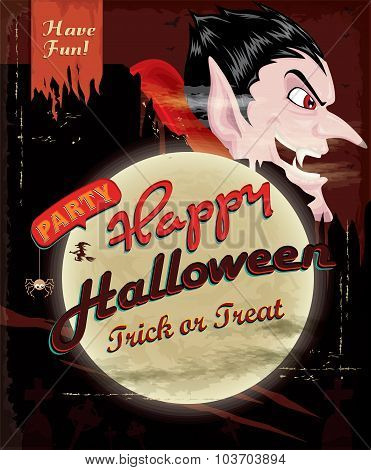 Vintage Halloween poster design with vampire character