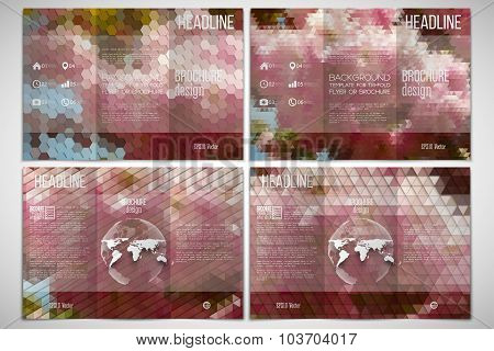 Vector set of tri-fold brochure design template on both sides with world globe element. Purple flowe