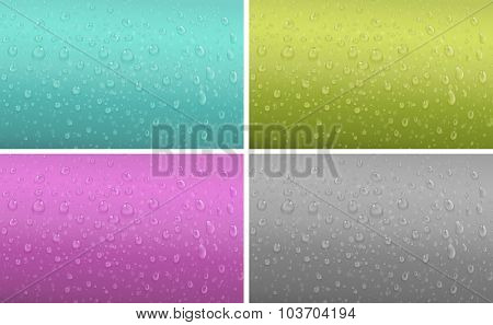 Four background patter with water drop illustration