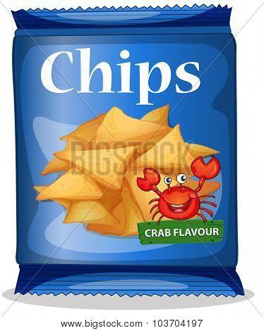Bag of corn chips crab flavor illustration