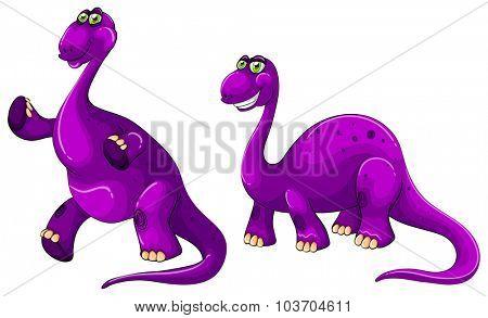 Purple brachiosaurus standing on two legs illustration
