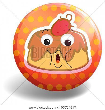 Custard cake on orange badge illustration