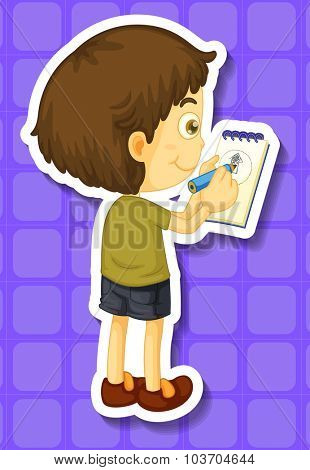 Little boy writing notes illustration