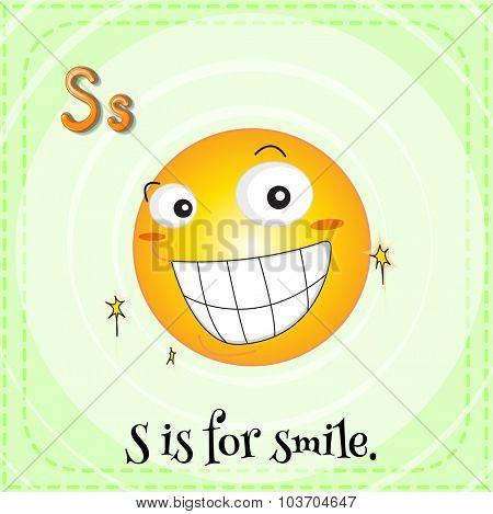Flashcard letter S is for smile illustration