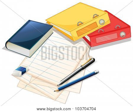 Pile of papers and files illustration