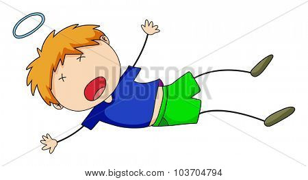 Little boy falling down on floor illustration
